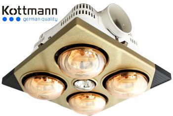 Đèn sưởi âm trần 4 bóng Kottmann K4BT, 1180W, thông gió, chiếu sáng, BH 3 năm