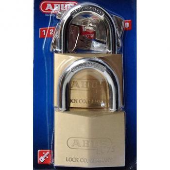 Vỉ khóa cầu Abus EC75 CT/50, đồng, 3 chiếc 1 vỉ, dùng chung chìa