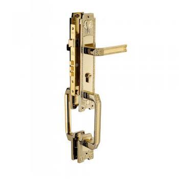 Khóa tay nắm HC 8528 đại sảnh PVD Gold, thân Đồng ổ Huy Hoàng - Abus CHLB Đức PVD Gold
