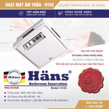 Quạt mát âm trần dùng Hans H10-S H10S công tắc Công suất 39W