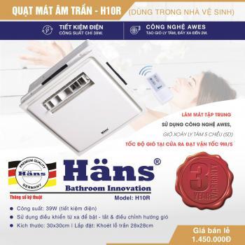 Quạt mát âm trần dùng Hans  H10-R H10R có điều khiển. Công suất 39W